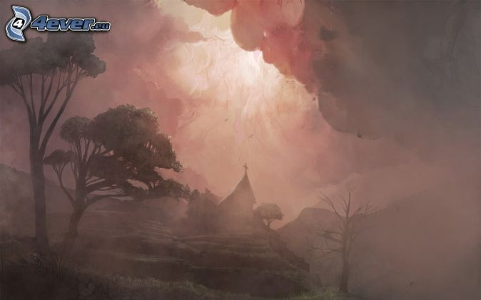 kostol, stromy, búrkové mraky