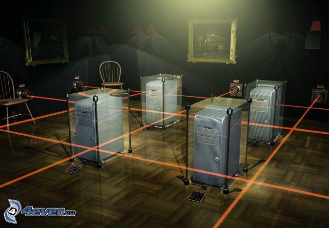 laserové lúče, izba