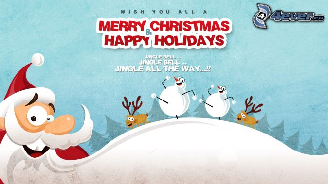Merry Christmas, Happy Holidays, Santa Claus, snehuliaci, soby