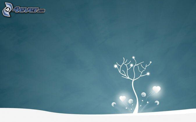 osamelý strom, srdiečka, sneh