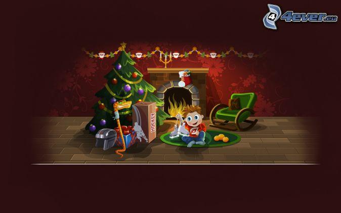 panáčik, vianočný stromček, darčeky
