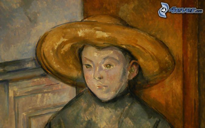 kreslená žena, dievča s klobúkom, obraz