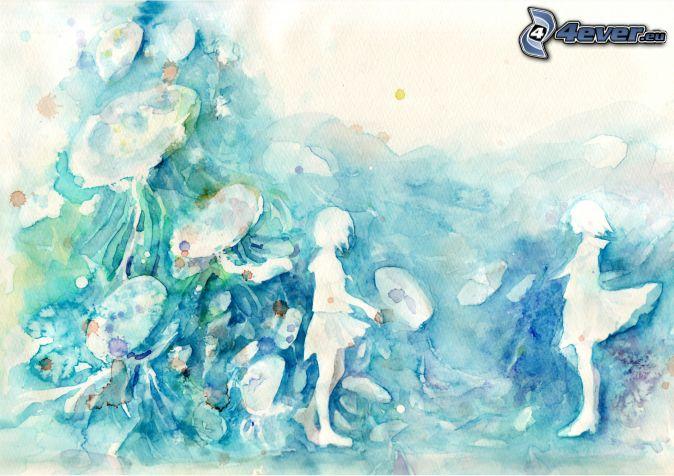 kreslené dievčatá, machule, modrá farba