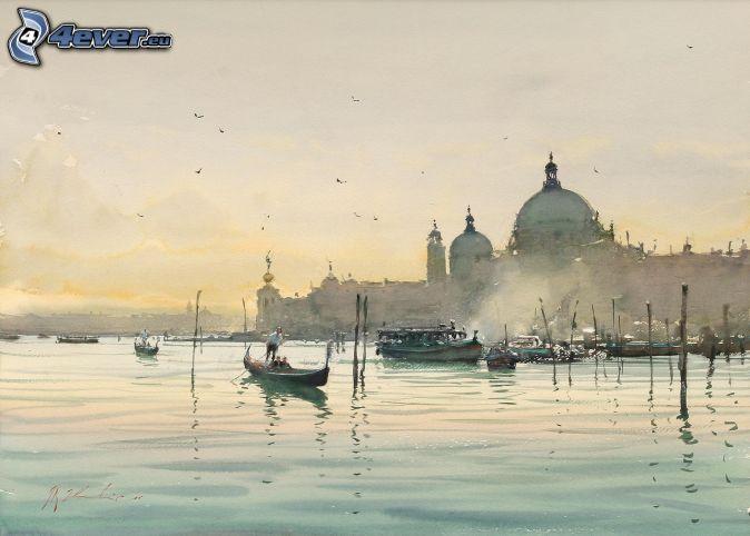 maľba, čln, prístav