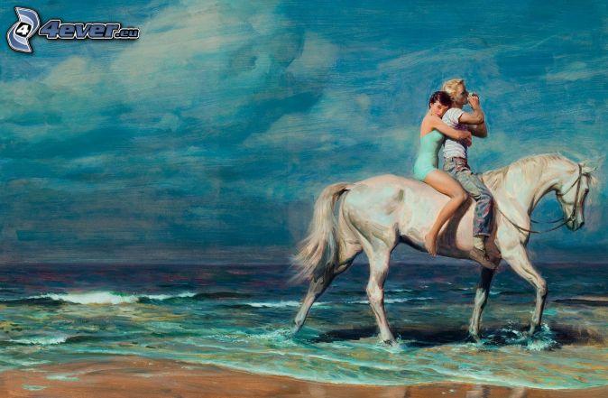párik, biely kôň, more, maľba