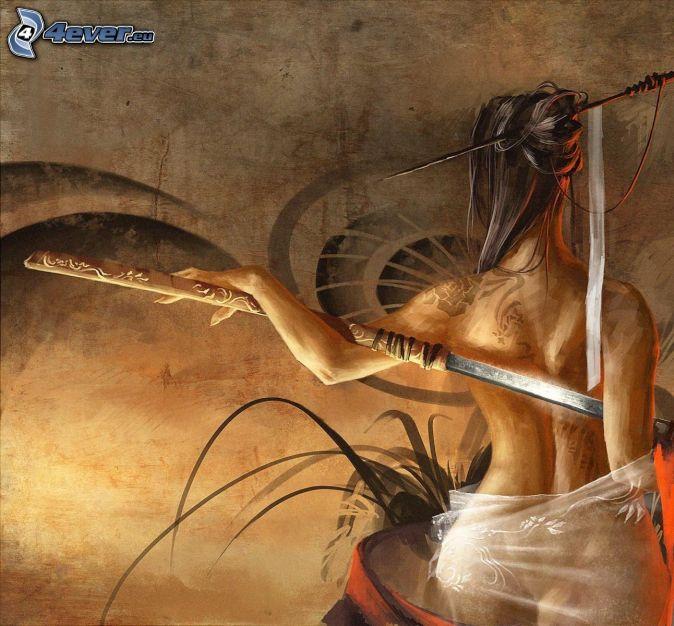 samuraj, nahá žena