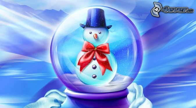 snehuliak, sklenená guľa
