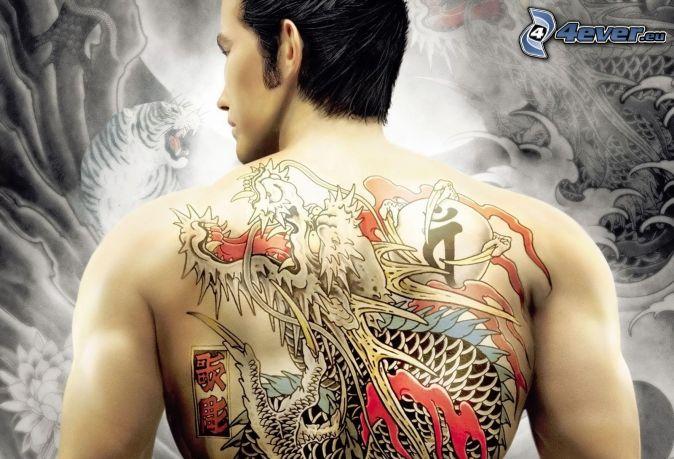 tetovanie, kreslený drak, chrbát, muž