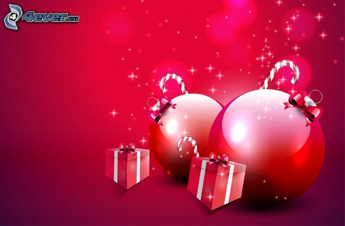 vianočné gule, darčeky