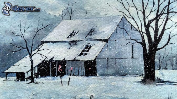 zasnežená chata, stromy, sneženie