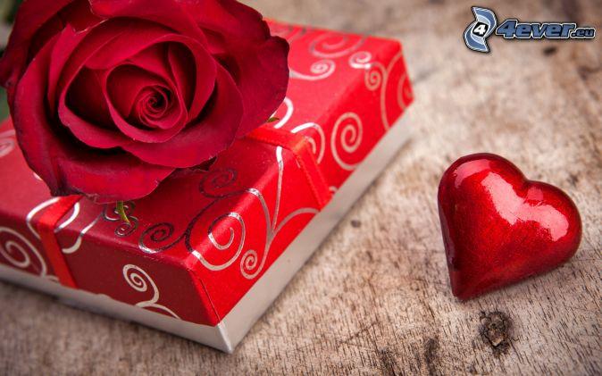 darček, červená ruža, srdce