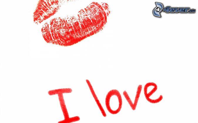 I love you, červené pery, odtlačok