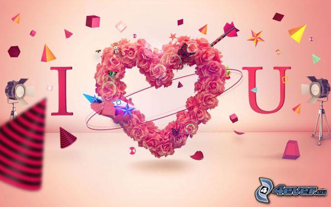 I love you, srdiečko z kvetov, tvary