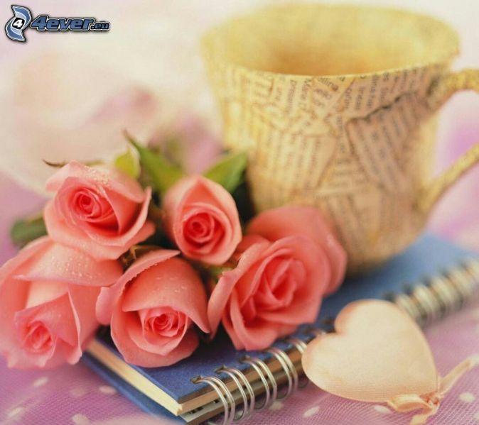 love, ružové ruže, hrnček