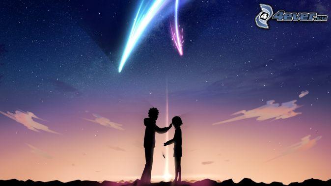 kreslený párik, kométa, nočná obloha