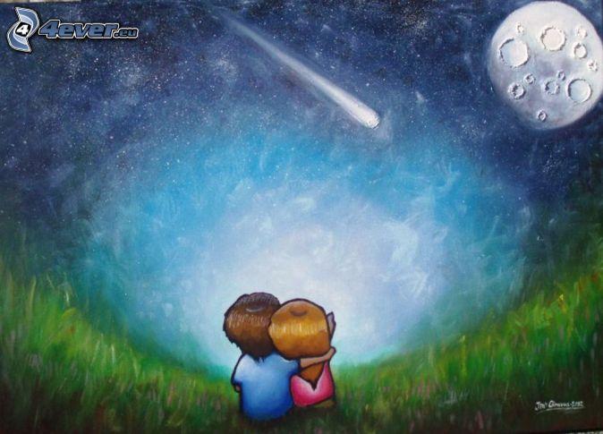 kreslený párik, mesiac, nočná obloha