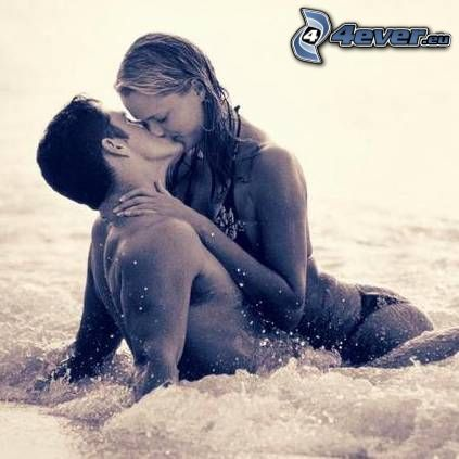 milenci, láska, voda, more, pláž