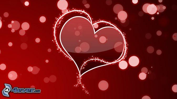 červené srdiečka, krúžky, červené pozadie