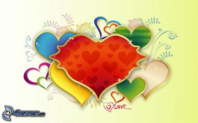 farebné srdiečka, love