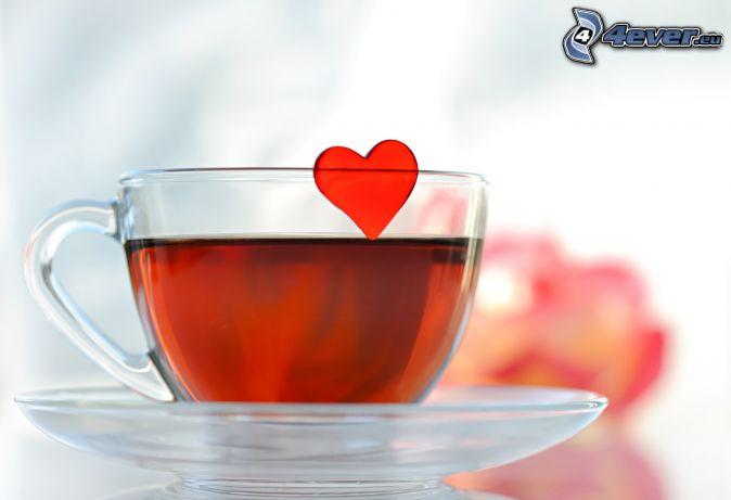 šálka čaju, srdiečko