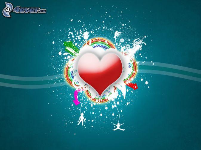 srdce, dúha, modré pozadie, digital art