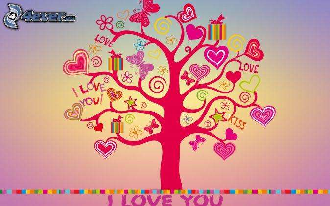 strom, srdiečka, I love you, darčeky, motýle, kvety, kiss, love