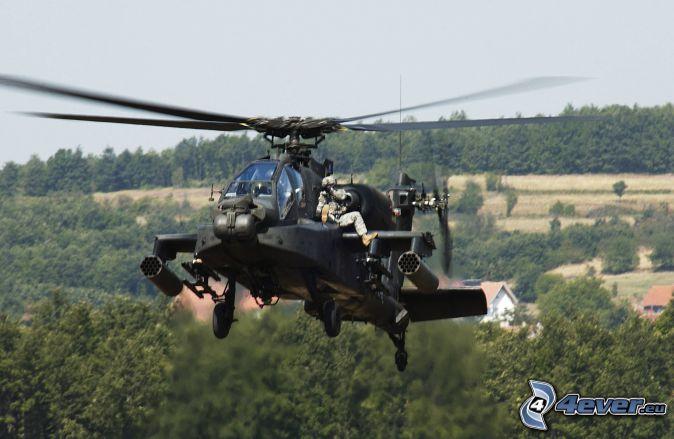 AH-64 Apache, vojaci, les