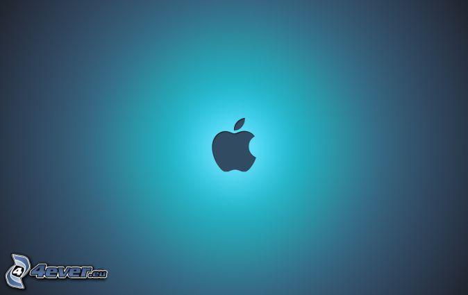 Apple, modré pozadie