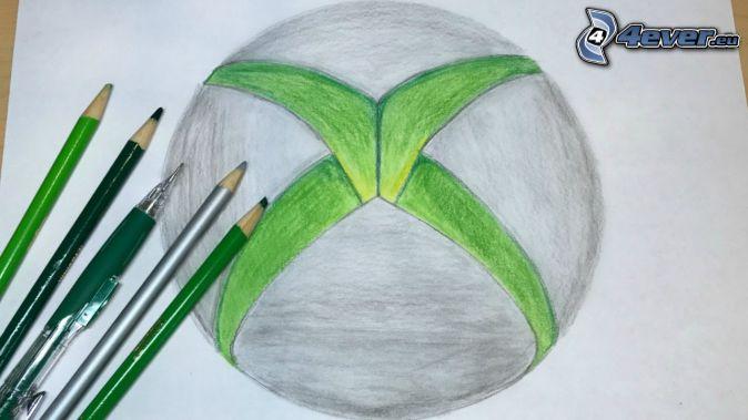 Xbox, kreslené, farbičky