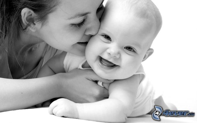 Bábätko , mama , smiech , láska