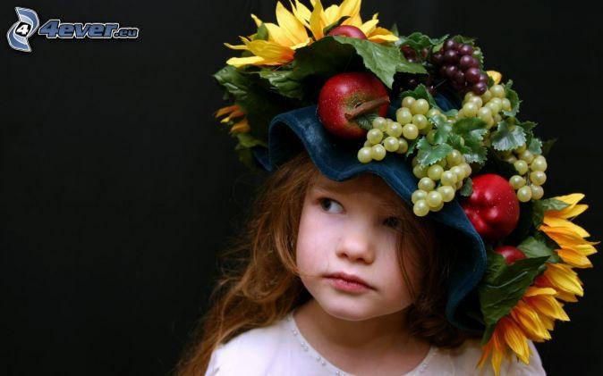 dievčatko, klobúk, ovocie