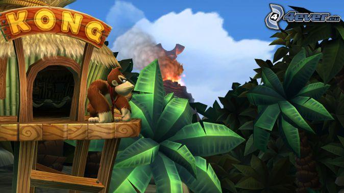 Donkey Kong Country Returns, gorila, palmy