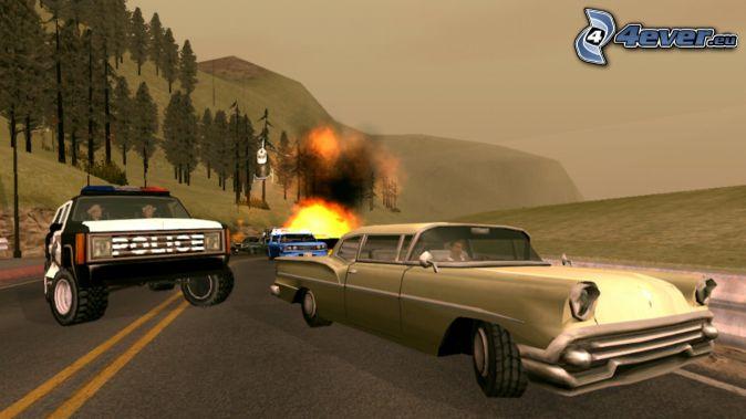 GTA San Andreas, výbuch, havária