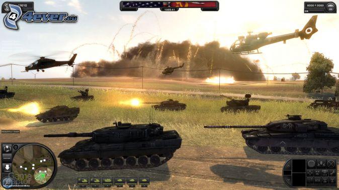 World in Conflict, tanky, vojenské vrtuľníky, streľba
