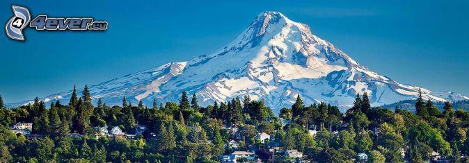 Mount Hood, zasnežená hora, chatky
