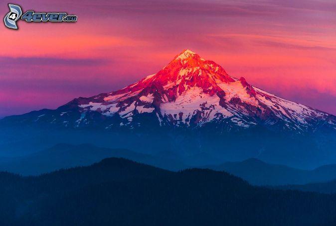 Mount Hood, zasnežená hora, oranžová obloha