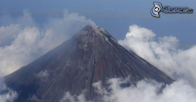 Mount Mayon, sopka, oblaky, Filipíny