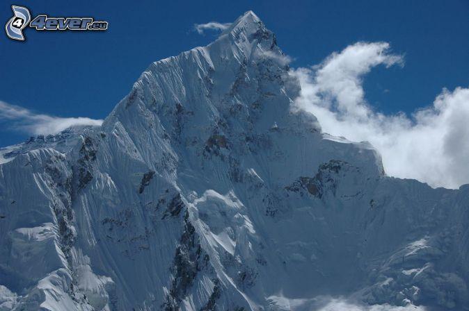 Mount Nuptse, Nepál, zasnežené hory