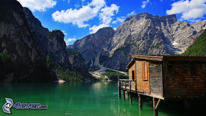 skalnaté hory, domček na vode, jazero