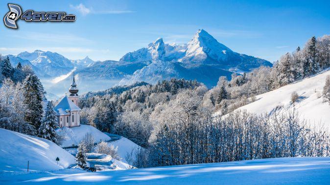 zasnežená krajina, kostol, zasnežený les, zasnežené hory