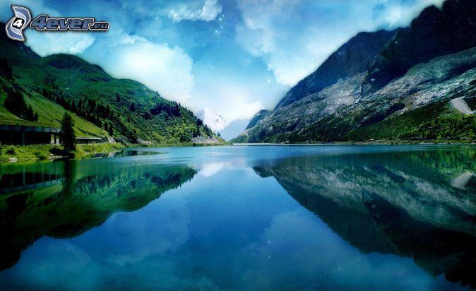jazero, skalnaté kopce, odraz, oblaky