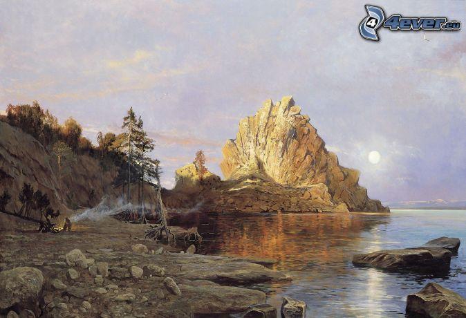 jazero, skaly