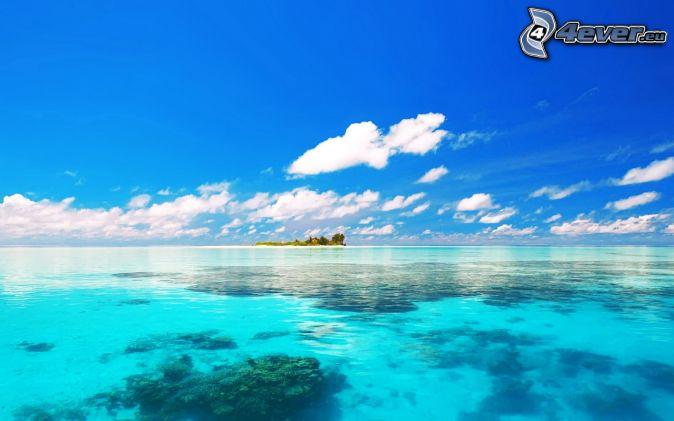 azúrové more, ostrov, oblaky, modrá obloha