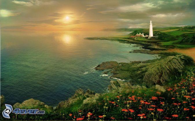 západ slnka nad morom, maják, skalnaté pobrežie