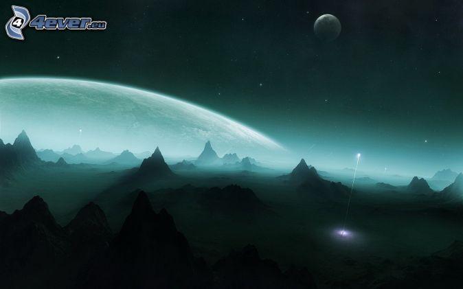 noc, planéta, hory