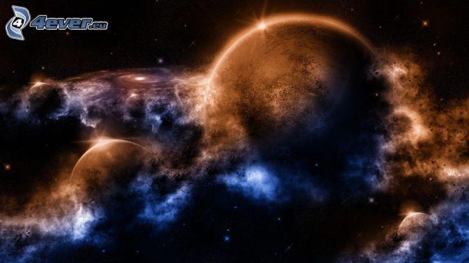 planéty, hmloviny