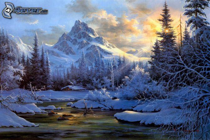 zasnežená krajina, slnečné lúče, zimná rieka, skalnaté hory, zasnežené stromy