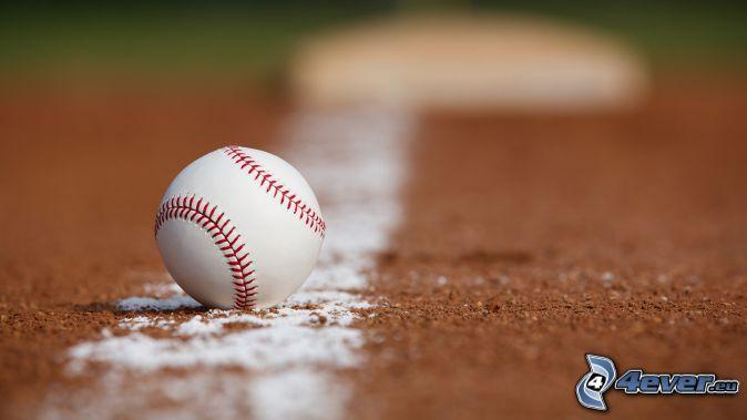 baseballová loptička, biela čiara