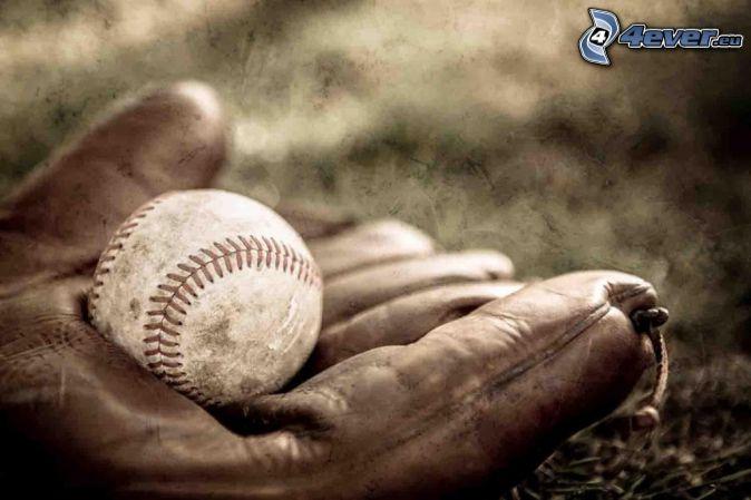 baseballová loptička, rukavice