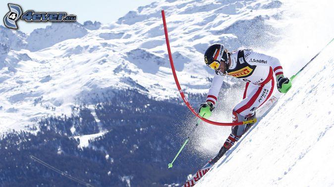 extrémne lyžovanie, zasnežené hory